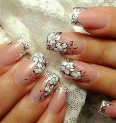 White Flowers with Silver Sparkles and Black Swirls and Pearls