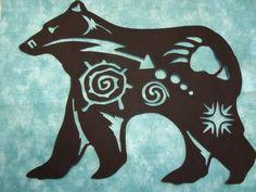 Native American Bear Symbol Silhouette - comes In 3 sizes 8 Native American Animals, Native American Decor, Native American Patterns, Native American Symbols, Native American Beadwork, American Indian Art, American Indians, Native Symbols, Indian Symbols