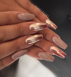 10 Stunning Chrome Nail Ideas To Rock The Latest Nail Trend: #9. Nude and Pink Chrome