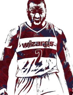 John Wall Washington Wizards Pixel Art 5 Art Print by Joe Hamilton Basketball Leagues, Basketball Legends, Basketball Players, Nba Sports, Sports Art, Joe Hamilton, Nba League, John Wall, Nba Wallpapers