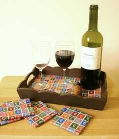Serving tray and coasters from old postage stamps.  Great for our own home or as a gift!!