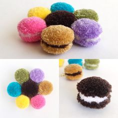 Macaron Pom pom Earrings / Pom pom Earrings / Macaron Earrings / Macaroon Earrings / 80+ colors available