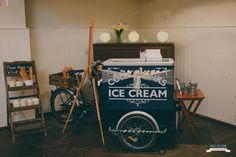 Ice cream tricycle ready to go in a village hall for a lovely vintage styled wedding. Plumhoneychurch.com Tricycle, Plum, Vintage Fashion, Ice Cream, Wedding, Style, No Churn Ice Cream, Valentines Day Weddings, Swag