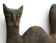 Black Cat Primitive Doll - Halloween Folk Art Doll - Made to Order. $40.00, via Etsy.