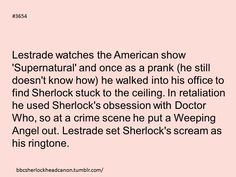Repinned solely because I can't imagine what Sherlock screaming must have sounded like << yeah, bit of a stretch, but still funny. ...I can't even imagine Sherlock knowing what Doctor Who is. Important information and all that. (And yet... still funny. :) )