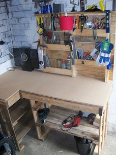 Workbench & toolrack    #Garage, #Rack, #Tools