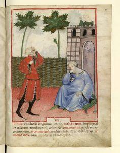 Nouvelle acquisition latine 1673, fol. 88, Biologie: tempérament colérique. Tacuinum sanitatis, Milano or Pavie (Italy), 1390-1400. Keywords: Green hoses
