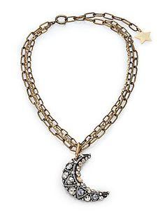 Lanvin Crystal Moon Long Pendant Necklace