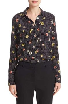 The Kooples Floral Polka Dot Silk Shirt
