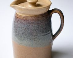 JR Cooper Hand-thrown Pottery Pitcher with Lid, Blue and Cream Glazes