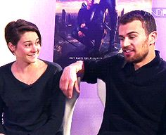 interviewer: you're from the virgin faction theo: that is a terrible faction shailene: we better change that right now #divergent #shailenewoodley #theojames
