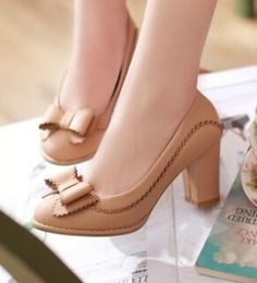 Women new fashion Spring summer sweet bow thick high heels pumps women's shoes large plus size 40-43