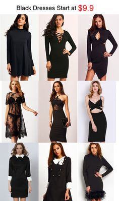 Slip into a sexy and classic black slim dress. All styles start at $9.9.