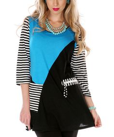 Loving this Turquoise & White Stripe Color Block Tunic on #zulily! #zulilyfinds
