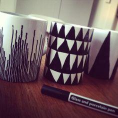Porcelain pen art work in mugs :-) pretty cool !