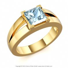 GENIUS | Modern Solitaire Ring with Aquamarine in 18k Yellow Gold