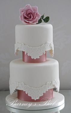 Vintage Lace Wedding Cake, Barney's Bakery