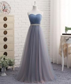 Cute sweetheart neck tulle prom dress, tulle bridesmaid dress, Customized service and Rush order are available