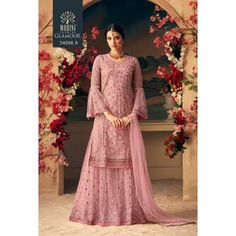 Mohini Fashion Glamour 54005 colors Designer Net Heavy Embroidery Plazzo Salwar Kameez Party Wedding Wear Muslim Bride Collection Sharara Dress Singles Pieces Wholesale Supplier on Company rate from Surat - Full Set Price - INR