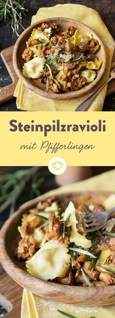 Belohne dich richtig zum Feierabend und bereite dir ganz schnell diesen  Feierabendschmaus zu: Steinpilzravioli mit Pfifferlingen. Einfach köstlich!.