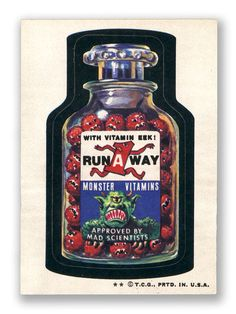 Run-A-Away Vitamins - Topps Wacky Packages 6th Series 1974