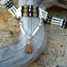 3 row Native American style choker white by CoyoteWindCreations
