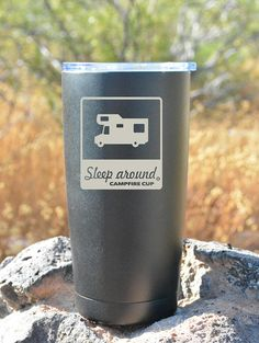 Sleep Around® travel mugs. Professionally engraved and ready to hit the road with you.