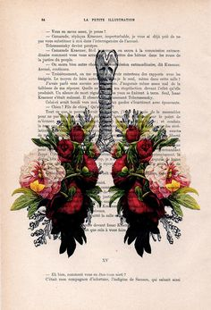 Peony Lungs Anatomy Print on 1900s antique page. The genuine antique paper I use comes from 1900s original antique french book page. The page is