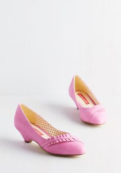 Love at First Excite Heel in Bubblegum. Revitalize retro style in these bright pink heels from Bait Footwear! #pink #wedding #modcloth