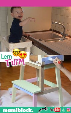 The most ingenious piece of furniture for children: Build a DIY learning tower yourself - mamiblock - Tipps & Tricks für Eltern - Bébé Handmade Home, Diy For Teens, Diy For Kids, Baby Room Boy, Ikea Kids Room, Learning Tower, Diy Tumblr, Tumblr Rooms, Infant Activities