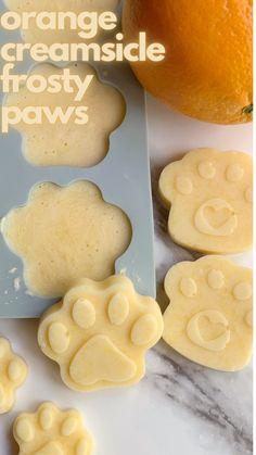 orange creamsicle frosty paws Animal Nutrition, Pet Nutrition, Dog Treat Recipes, Dog Food Recipes, Frosty Paws Recipe, Orange Yogurt, 2 Ingredient Recipes, Frozen Dog Treats, Dog Diet