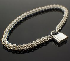 Sterling Silver Bracelet with Heart or Padlock Clasp - Jens Pind Chainmaille