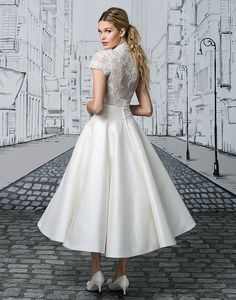 The options are endless with this two piece set. The short sleeved V-neck bodice tucks perfectly into the Silk tea length ball gown skirt. A Mikado skirt version is also available as style Full length skirt options are available in Silk as or Mikado as Lace Wedding Dress, Bridal Party Dresses, Tea Length Wedding Dress, Tea Length Dresses, Wedding Dress Styles, Ball Dresses, Designer Wedding Dresses, Bridal Gowns, Ball Gowns