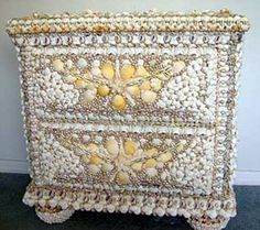 Seashell chest for nautical decor. Bea Valiente spent 6 months designing this seashell dresser and it's home is Aptos, California