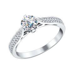 Помолвочное кольцо из белого золота с бриллиантами 9010017