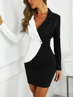 Contrast Color Striped Insert Blazer Dress We Miss Moda is a leading Women's Clothing Store. Offering the newest Fashion and Trending Styles. Trend Fashion, Look Fashion, Womens Fashion, Ladies Fashion, Fashion Fashion, Runway Fashion, Mode Outfits, Dress Outfits, Blazer Outfits