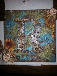 Steampunk wooden letter canvas