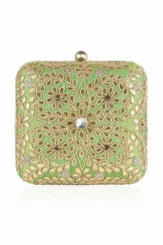 Inayat Heritage s statement wedding clutch with pale gold floral motifs 0ec30bf972c88