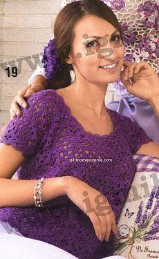 Фиолетовая кофточка | Вязание крючком и спицами
