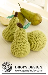 Crochet DROPS pear in LOTS LOTS of free pattern men, women, children, home at www.garnstudio.com Many languages