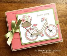 Stampin Up Bike Ride Friendship Birthday Cards Ideas - Mary Fish StampinUp Birthday Cards For Women, Birthday Greeting Cards, Greeting Cards Handmade, Homemade Birthday Cards, Homemade Cards, Birthday Card Pictures, Kids Stamps, Bicycle Cards, Stamping Up Cards