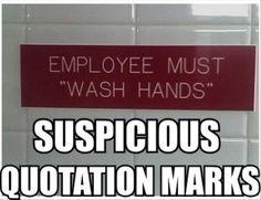 Definitely suspicious quotation marks