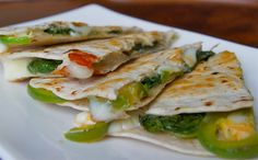 Spinach and Jalapeno Quesadillas (Healthy and Gourmet's Posterous) - I used corn tortillas instead of wheat, monterray jack cheese, skipped the salt and oil and used cooking spray to cut the calories. A nice simple healthy recipe.