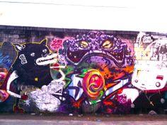 Bigod (de Salvador, Brasil) and other artists at the MOF Graffiti & Street Art Festival, Rio de Janeiro.