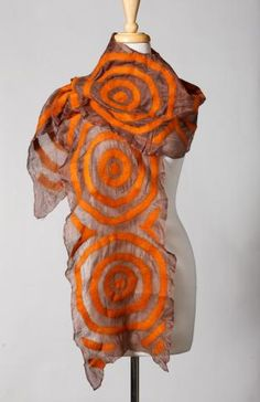 Aidai Asangulova :Beautiful brown silk scarf with hand fused rust colored felt