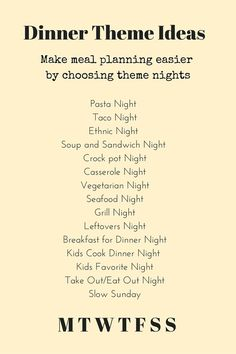 Dinner Theme Ideas - make meal planning easier by choosing theme nights. halsanutrition.com