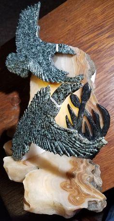 "Mallards: Gem Lawsonite Base & Back: Translucent Onyx Cattails: ""Starfield"" Geothermal Marble [NV] Robert Dennis Wilson"