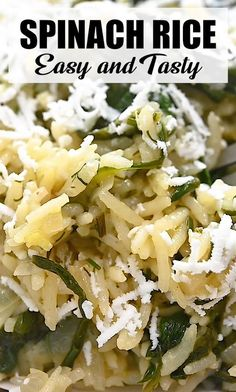 Cooked Spinach Recipes, Healthy Rice Recipes, Spinach Rice, Vegan Dinner Recipes, Easy Healthy Dinners, Vegan Dinners, Cooking Recipes, Vegetarian Dishes Healthy, Rice Dishes