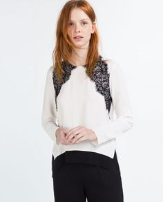 TOP WITH CONTRAST LACE off white black longsleeve viscose $29.99 | Zara