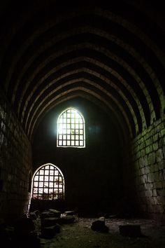 Interior of Goblin Hall, Yester Castle - said to have been built ca. 1257 with the aid of Goblins (hence the name) as the result of a satanic pact by the owner, Hugo de Gifford (known as the wizard of Yester) with the Devil.